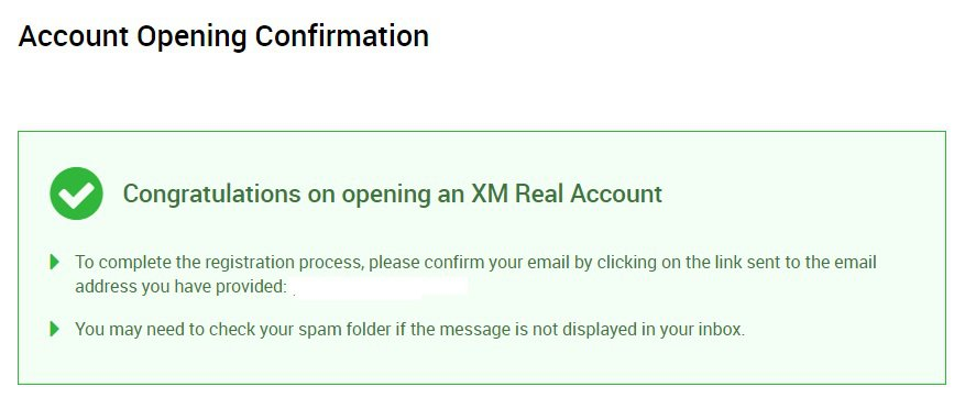 XM account opening confirmation 1