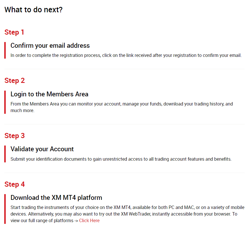 XM account opening confirmation 2