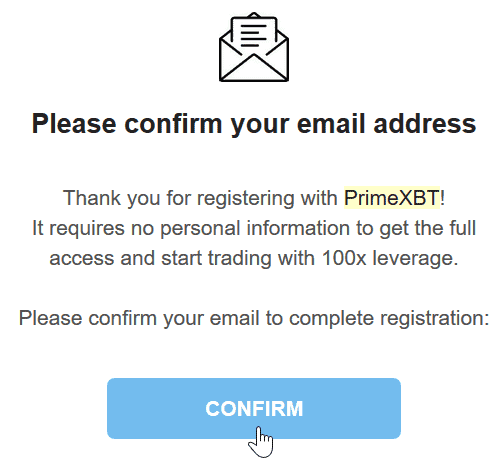 PrimeXBT Review Account Opening Register Confirmation Email