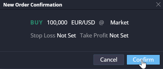 PrimeXBT Review EURUSD New Order Confirm
