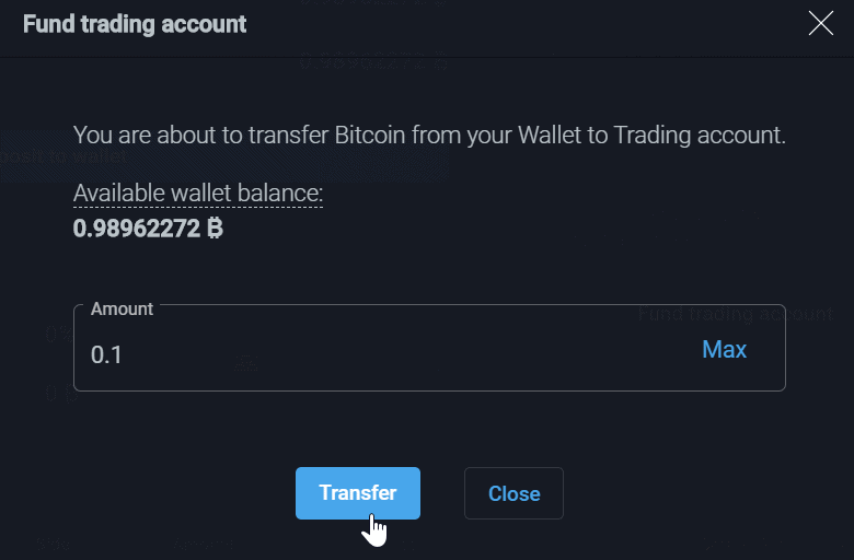PrimeXBT Review Fund Trading Account Pop Up Box