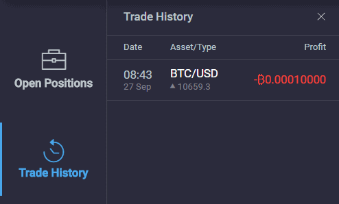 PrimeXBT Review Turbo Trade History