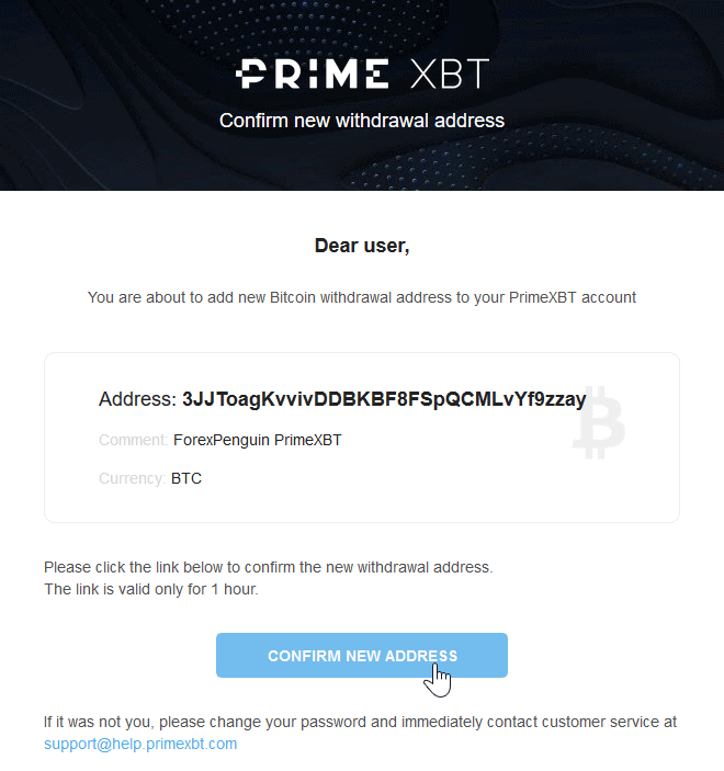 PrimeXBT Review Withdrawal Whitelisting Confirmation Email