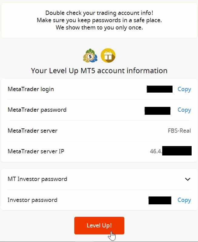 Level Up MT5 Account Information